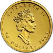 Canada 10 Dollars Maple Leaf 2003 KM# 189 ELIZABETH II 10 DOLLARS DATE coin obverse