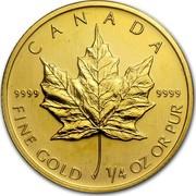 Canada 10 Dollars Maple Leaf 2003 KM# 189 CANADA 9999 9999 FINE GOLD 1/4 OZ OR PUR coin reverse