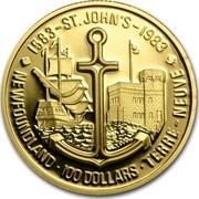 Canada 100 Dollars 400th anniversary of St. John's - Newfoundland (1983) Proof KM# 139 1583 - ST JOHN'S - 1983 NEWFOUNDLAND . 100 DOLLARS . TERRE NEUVE coin reverse