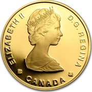 Canada 100 Dollars 450th anniversary of Jaques Cartier's landing at Gaspe (1984) Proof KM# 142 ELIZABETH II D∙G∙REGINA CANADA coin obverse