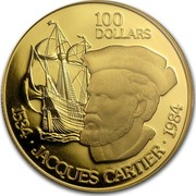 Canada 100 Dollars 450th anniversary of Jaques Cartier's landing at Gaspe (1984) Proof KM# 142 100 DOLLARS 1534 ∙ JAQUES CARTIER ∙ 1984 coin reverse