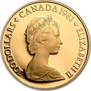 Canada 100 Dollars Adoption of O Canada as national anthem 1981 Proof KM# 131 100 DOLLARS CANADA 1981 ELIZABETH II coin obverse