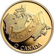 Canada 100 Dollars Adoption of O Canada as national anthem 1981 Proof KM# 131 O CANADA coin reverse