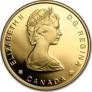 Canada 100 Dollars Balaena Mysticetus 1988 Proof KM# 162 ELIZABETH II D ∙ G ∙ REGINA CANADA coin obverse