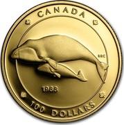 Canada 100 Dollars Balaena Mysticetus 1988 Proof KM# 162 CANADA 1988 RRC 100 DOLLARS coin reverse