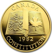 Canada 100 Dollars Patriation of the Canadian Constitution 1982 Proof KM# 137 CANADA 1982 CONSTITUTION coin reverse