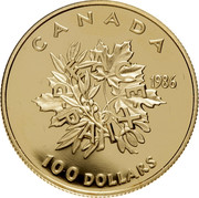 Canada 100 Dollars Peace 1986 Proof KM# 152 CANADA 1986 100 DOLLARS - PEACE - PAIX coin reverse