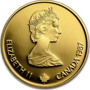 Canada 100 Dollars XV Olympic Winter Games 1987 Proof, letter edge KM# 158 ELIZABETH II CANADA 1987 coin obverse