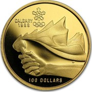 Canada 100 Dollars XV Olympic Winter Games 1987 Proof, letter edge KM# 158 CALGARY 1988 100 DOLLARS coin reverse