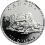 Canada 150 Dollars Cougar 1992 Proof KM# 228 CANADA 150 DOLLARS coin reverse