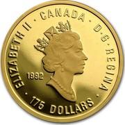 Canada 175 Dollars Olympic movement 1992 Proof KM# 217 ∙ ELIZABETH II ∙ D∙G∙REGINA ∙ CANADA 1992 175 DOLLARS coin obverse