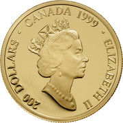 Canada 200 Dollars A butterfly in the traditional Mikmaq double curve. 1999 Proof KM# 358 200 DOLLARS ∙ CANADA 1999 ∙ ELIZABETH II coin obverse