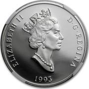 Canada 300 Dollars Arctic fox 1993 Proof KM# 243 ELIZABETH II D∙G∙REGINA 1993 coin obverse
