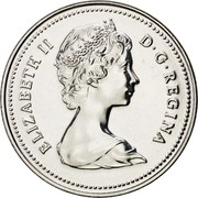 Canada 5 Cents 1980 KM# 60.2 Circulation Coins ELIZABETH II D G REGINA coin obverse