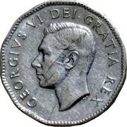 "Canada 5 Cents George VI 1951 Low relief; Second ""A"" in GRATIA points between denticles KM# 42a GEORGIVS VI DEI GRATIA REX HP coin obverse"