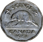 """Canada 5 Cents George VI 1951 Low relief; Second """"A"""" in GRATIA points between denticles KM# 42a 5 CENTS CANADA DATE K∙G coin reverse"""