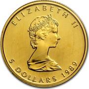 Canada 5 Dollars Maple Leaf 1989 Proof KM# 135 ELIZABETH II 5 DOLLARS coin obverse