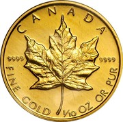 Canada 5 Dollars Maple Leaf 1989 Proof KM# 135 CANADA 9999 9999 FINE GOLD 1/10 OZ OR PUR coin reverse