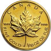 Canada 5 Dollars Maple Leaf 2003 KM# 188 CANADA 9999 9999 FINE GOLD 1/10 OZ OR PUR coin reverse