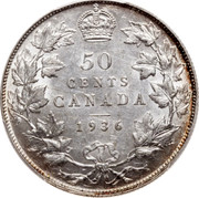 Canada 50 Cents George V 1936 KM# 25a 50 CENTS CANADA coin reverse