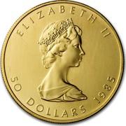 Canada 50 Dollars Maple Leaf 10th Anniversary 1985 KM# 125.2 ELIZABETH II 50 DOLLARS 1985 coin obverse