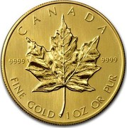 Canada 50 Dollars Maple Leaf 10th Anniversary 1985 KM# 125.2 CANADA 9999 9999 FINE GOLD 1 OZ OR PUR coin reverse
