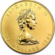 Canada 50 Dollars Maple Leaf 1981 KM# 125.1 ELIZABETH II 50 DOLLARS 1981 coin obverse