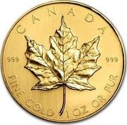 Canada 50 Dollars Maple Leaf 1981 KM# 125.1 CANADA 999 999 FINE GOLD 1 OZ OR PUR coin reverse