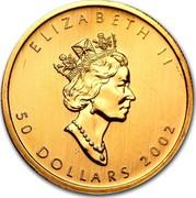 Canada 50 Dollars Maple Leaf 2002 KM# 191 ELIZABETH II 50 DOLLARS 1998 coin obverse
