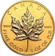 Canada 50 Dollars Maple Leaf 2002 KM# 191 CANADA 9999 9999 FINE GOLD 1 OZ OR PUR coin reverse