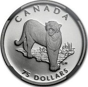 Canada 75 Dollars Cougar 1992 Proof; in sets only KM# 227 coin reverse