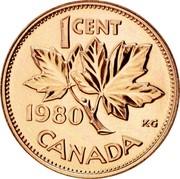 Canada Cent Elizabeth II 2nd portrait 1980 KM# 127 1 CENT CANADA KG coin reverse