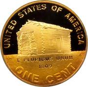 USA Cent Lincoln Bicentennial 2009 D Satin Finish KM# 441a UNITED STATES OF AMERICA ONE CENT E PLURIBUS UNUM 1809 coin reverse