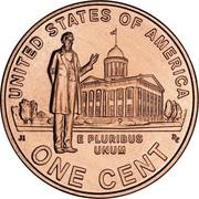 USA Cent Lincoln Bicentennial 2009 D KM# 443 UNITED STATES OF AMERICA ONE CENT E PLURIBUS UNUM coin reverse