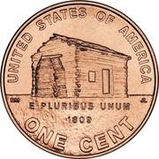 USA Cent Lincoln Bicentennial 2009 P KM# 441 UNITED STATES OF AMERICA ONE CENT E PLURIBUS UNUM 1809 coin reverse