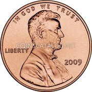 USA Cent Lincoln Bicentennial 2009 KM# 444 IN GOD WE TRUST LIBERTY coin obverse