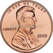 USA Cent Lincoln Bicentennial 2009 KM# 442 IN GOD WE TRUST LIBERTY coin obverse