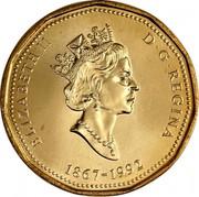 Canada Dollar Canadian Confederation (1992) Proof KM# 218 ELIZABETH II D ∙ G ∙ REGINA 1867-1992 coin obverse
