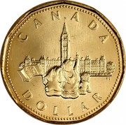 Canada Dollar Canadian Confederation (1992) Proof KM# 218 CANADA DOLLAR RS coin reverse