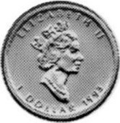 Canada Dollar Maple leaf 1993 KM# 239 ELIZABETH II 1 DOLLAR coin obverse