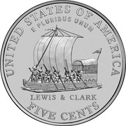 USA Five Cents Keelboat 2004 D KM# 361 UNITED STATES OF AMERICA FIVE CENTS E PLURIBUS UNUM LEWIS & CLARK coin reverse