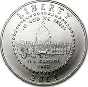 USA Half Dollar U.S. Capitol Visitor Center 2001 P Proof KM# 323 LIBERTY IN GOD WE TRUST U.S. CAPITOL 1800 coin obverse