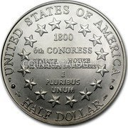USA Half Dollar U.S. Capitol Visitor Center 2001 P Proof KM# 323 • UNITED STATES OF AMERICA • HALF DOLLAR 6TH CONGRESS SENATE HOUSE 32 SENATORS 106 MEMBERS E PLURIBUS UNUM coin reverse