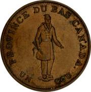 Canada Half Penny (Bouquet Sous) KM# Tn9 PROVINCE DU BAS CANADA UN SOU coin obverse