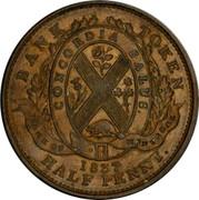 Canada Half Penny (Bouquet Sous) KM# Tn9 BANK TOKEN CONCORDIA SALUS BANK OF MONTREAL 1837 HALF PENNY coin reverse
