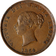 Canada Half Penny New Brunswick Token 1854 Proof KM# 3a VICTORIA DEI GRATIA REGINA 1854 coin obverse