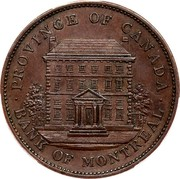 Canada One Penny Bank Token Bank of Montreal 1837 KM# Tn14 PROVINCE OF CANADA ∙ BANK OF MONTEREAL ∙ coin obverse
