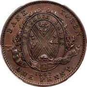 Canada One Penny Bank Token Bank of Montreal 1837 KM# Tn14 BANK TOKEN ONE PENNY CONCORDIA SALUS CITY BANK 1837 coin reverse