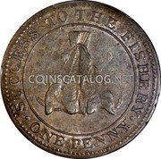 Canada One Penny Magdalen island - Sir Issac Coffin 1815 KM# Tn1 SUCCESS TO THE FISHERY ONE PENNY coin reverse