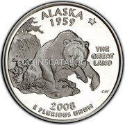 USA Quarter Dollar Alaska 2008 KM# 424a ALASKA 1959 E PLURIBUS UNUM THE GREAT LAND coin reverse
